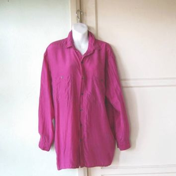 Fuchsia Silk Tunic Shirt; Women's Large Vintage '80s Button Up Top by Robert Stock; Festive/Career/Casual Blouse