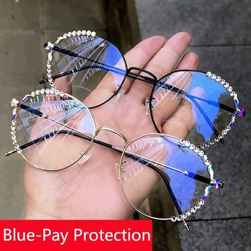 Blu-ray pretection vintage oval glasses women retro eyeglasses men clear lens rhinestone spectacle frame anti blue light goggles