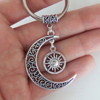Moon and sun keychain, crescent moon key chain, moon goddess key ring, moon child keyring, sun and moon gifts, gypsy accessories, grunge