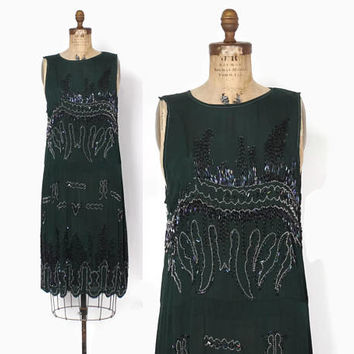 Vintage 20s BEADED Dress / 1920s Beaded Forest Green Silk Flapper Party Evening Dress S