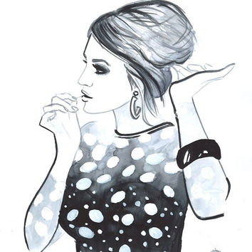 Print from Original Watercolor Illustration Vintage Retro Style Fashion Woman Art Painting tittled Hair Pin