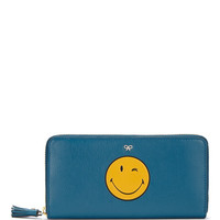 Large Zip Round Wink Wallet in Light Petrol Kid Leather