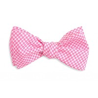 Watermelon Linen Gingham Bow Tie in Pink by High Cotton
