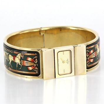 Vintage Designer Hermes Loquet Gold Plated Enamel Bracelet Watch Estate Jewelry