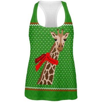 LMFCY8 Ugly Christmas Sweater Big Giraffe Scarf All Over Womens Work Out Tank Top