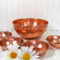 Retro Copper Color Collection of 5 Matching Bowls - Vintage Anoware Aluminum Mark Salad Set - BoHo Bistro Display Large Bowl Plus 4 Serving