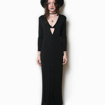 90s Black Long Dress - Long Sleeve - Button Up - Black Maxi - Witchy Dress - Goth Dress - Gothic - Grunge Dress - Witch - Occult - 1990s 90s