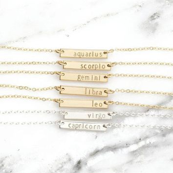 Zodiac Signs Dainty Bar Necklaces