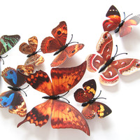 Decors Art decal 12pcs/packet PVC 3D Butterfly Tatoos Wall Sticker Home Decoration Decals home DIY stickers Free shipping