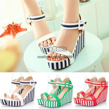 Womens Shoes Cheap Big Plus Size Green Red Blue And White Stripe Patent Leather Ankle Strap Platform Wedge High Heel Sandals
