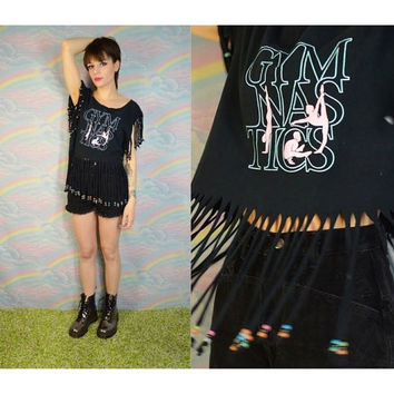Fringe Tee Beaded Glow in the Dark Crop 80s 90s Vintage Festival Rave Dance Party Shirt Tank Cropped Gymnastics
