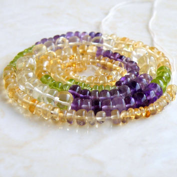 49% Off Sale Multi Gemstone Citrine Peridot Amethyst Smooth Rondelle bead 3.5 to 4.5mm 175 beads Full strand
