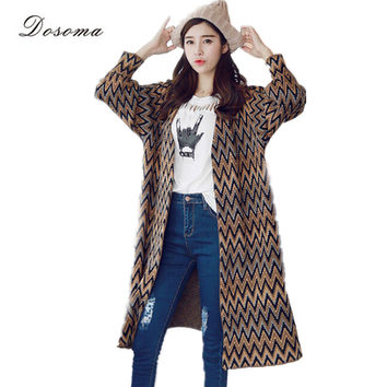 long kimono cardigan women 2016 autumn national style geometric knitting pattern cardigan vintage jacquard women warm cardigan