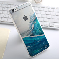 Fashion Thin Soft Silicone Beach Ocean Waves Transparent Back Cover Case For Apple iPhone SE 5s / 6 6s / Plus
