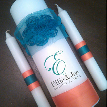 Custom Color Unity Candle Set for Weddings - Teal Oasis Peacock Orange Tangerine Malibu Coral Black  Ribbon with Chiffon Rose