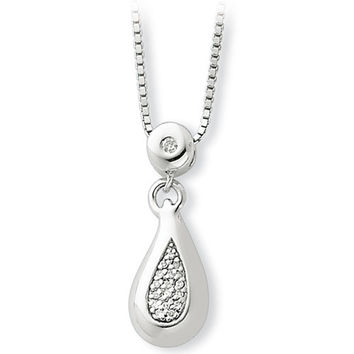 White Ice Sterling Silver Genuine Diamond Teardrop Necklace