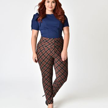 Unique Vintage Plus Size Burgundy Plaid High Waist Stretch Elaine Cigarette Pants
