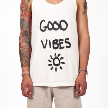 Lifetime Collective Men Good Vibes Tank Vintage White