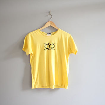 Japanese Character T-shirt / Japan Tshirt / Faces / Hipster / Minimalist / T-shirt / Tee / Men's Tee / Vintage / Size L
