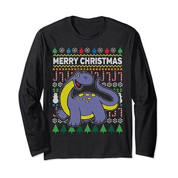 Purple Dinosaur Ugly Christmas Long Sleeve T-shirt