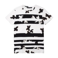 PAINTED FLOWER PATCHWORK TEE