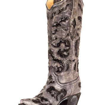 Corral Women's Black Crater Sequins Inlay Boot - A1065