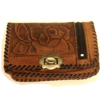 Vintage Tooled Leather Vintage Handbag 100% genuine Mexican Leather.