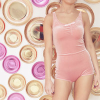 ONE 3 - Blush velvet bodysuit - Made to order - Choose your size