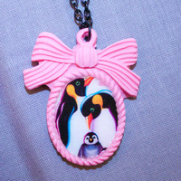 penguin cameo necklace