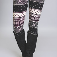 Winter Snowflakes Printed Leggings-Plum