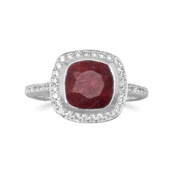 "Faceted Square ""Ruby"" Ring With CZ in Sterling Silver"
