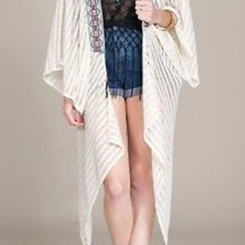 Eliza Bella for Flying Tomato Cream Draped Kimono Jacket / Sweater Sizes S, M, L