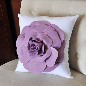 MOTHERS DAY SALE Lilac Rose on White Pillow, Flower Pillow