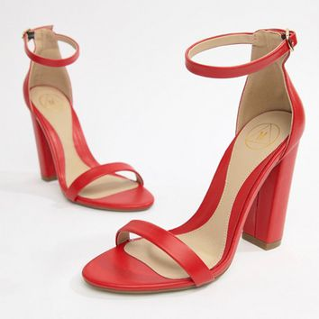 Missguided block heeled barely there sandals in red at asos.com