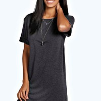Rachel Turn Back Sleeve TShirt Dress | Boohoo