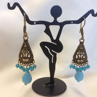 Oxidized Blue Beads Golden Earring Set Fashion Jewelry Gift For Her