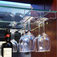 Under Cabinet Wine Glass Stemware Rack Holder Wire Hanging Rack Under the Shelf Holder Sheet (Size: 28cm by 18.5cm by 7cm, Color: Silver)