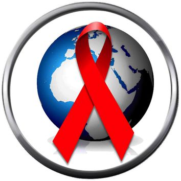 World Globe With HIV AIDS Red Awareness Ribbon Wear For Hope Find The Cure 18MM - 20MM Snap Jewelry Charm