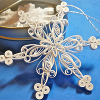 Quilled Paper Snowflake Christmas Decorations: 'Joyful' quilled Snowflake Ornament