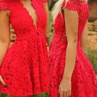 Red Lace Plunging Neckline Skater Dress