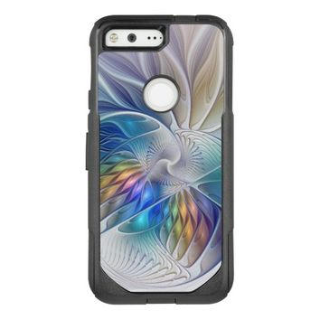 Floral Fantasy, Colorful Abstract Fractal Flower OtterBox Commuter Google Pixel Case