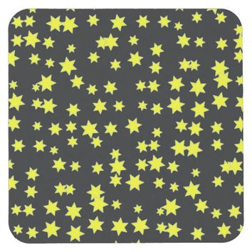 Yellow Stars Square Paper Coaster