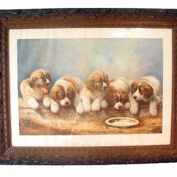 Antique Hand-Carved Early Wood Frame with Vintage Puppy Print, Home Decor,Wall Hanging