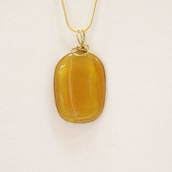 Amber colored Wire Wrapped Pendant, Unique Fused Glass  Statement  Pendant Necklace B1