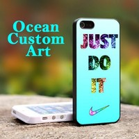 Nike Just Do It cyan bling Print on Hard Cover iPhone 5 Black Case