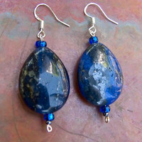 Royal Blue Earrings:  Oval Lapis Lazuli stones on Sterling Silver wires.