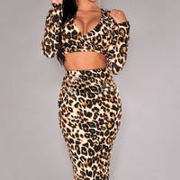 Leopard Print Faux-Wrap Midi Skirt Two Piece set