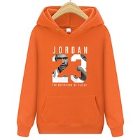 Jordan Autumn And Winter New Fashion Letter People Print Women Men Hooded Long Sleeve Sweater Orange