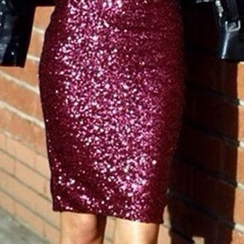 Red Patchwork Sequin Slit High Waisted Plus Size Elegant Party Going Out Cute Skirt