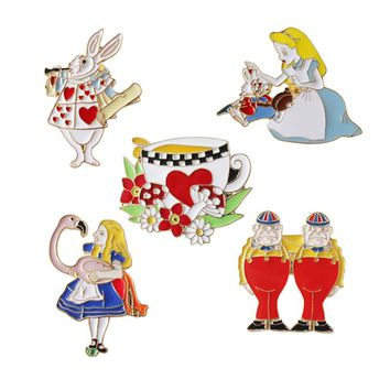Metal Enamel Cartoon Alice In Wonderland Rabbit Fllower Cup Twins Brooches Pin For Clothing Backpack